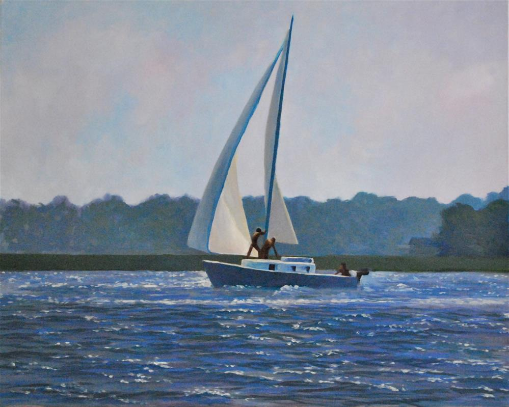 """Sailing in Charleston Harbor"" original fine art by Darla Brock"