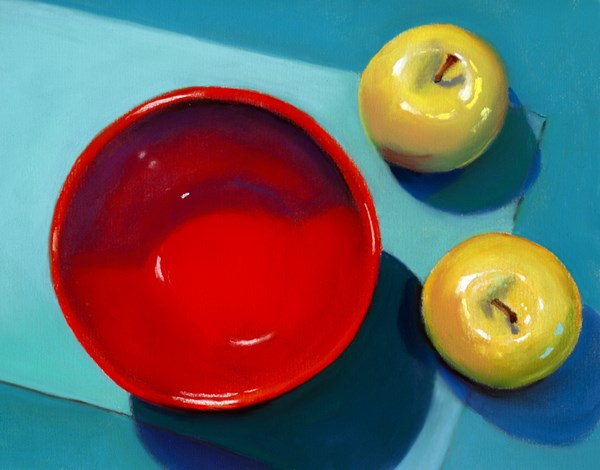 """""""red bowl and apples"""" original fine art by Ria Hills"""