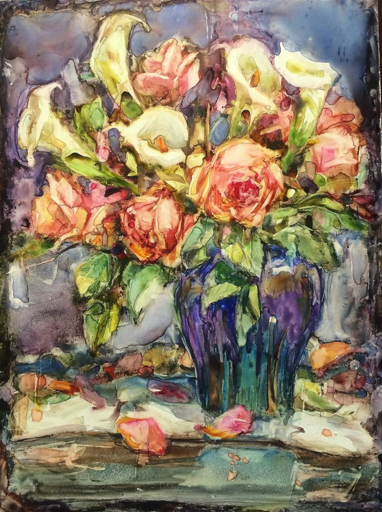 """""""Callas and Roses - Correction Made"""" original fine art by Julie Ford Oliver"""