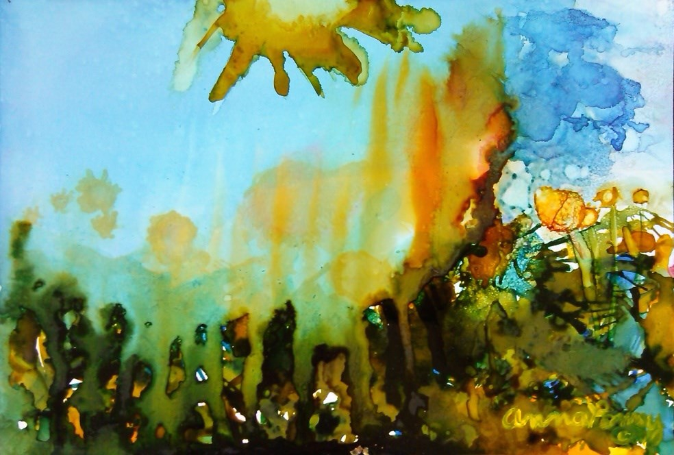"""Raining Sunshine"" original fine art by Anna Penny"