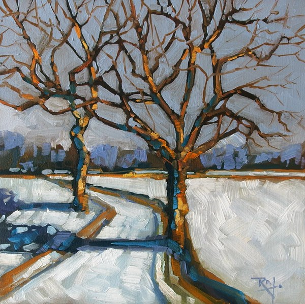 """""""No 700 Throught the trees"""" original fine art by Robin J Mitchell"""