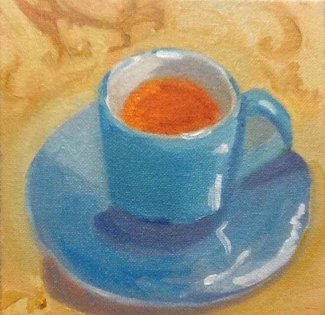 """Tea for You"" original fine art by Peggy Schumm"