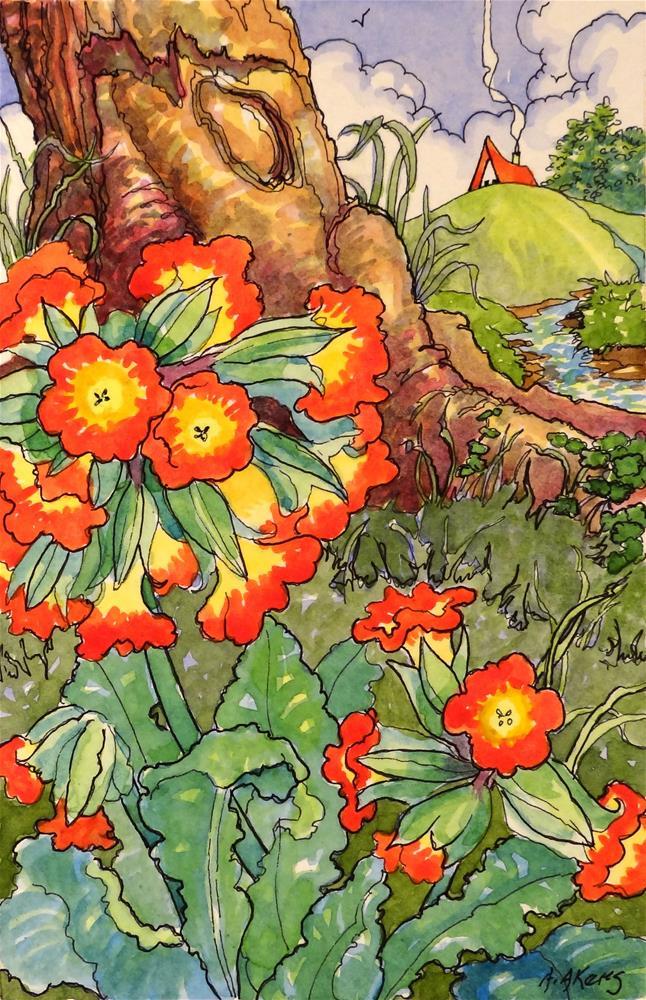"""More Primroses Storybook Cottage Series"" original fine art by Alida Akers"