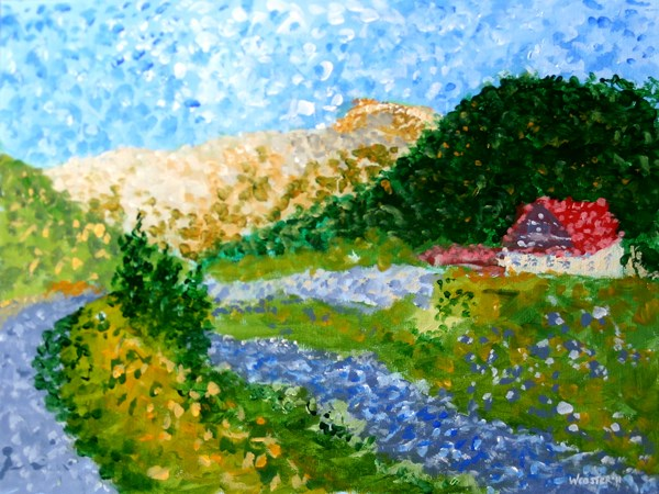 """Mark Webster - Untitled Landscape Acrylic Painting - Virtual Paintout Romania"" original fine art by Mark Webster"