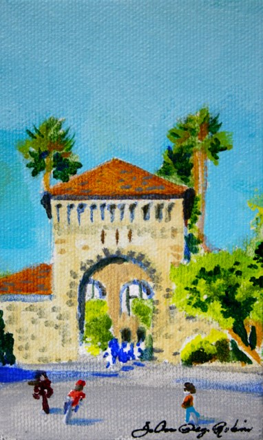 """Stanford Quad"" original fine art by JoAnne Perez Robinson"