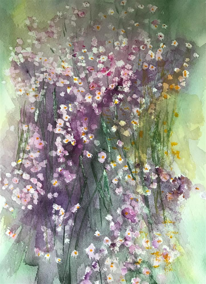 """little purple wild flowers"" original fine art by Betty Argiros"