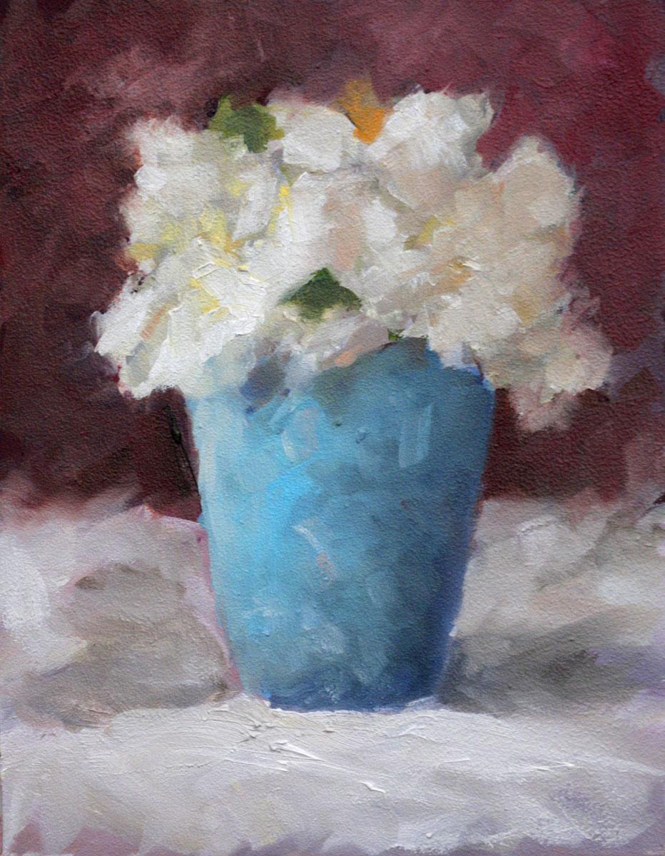 """Gardenia in Blue Cup"" original fine art by Clair Hartmann"