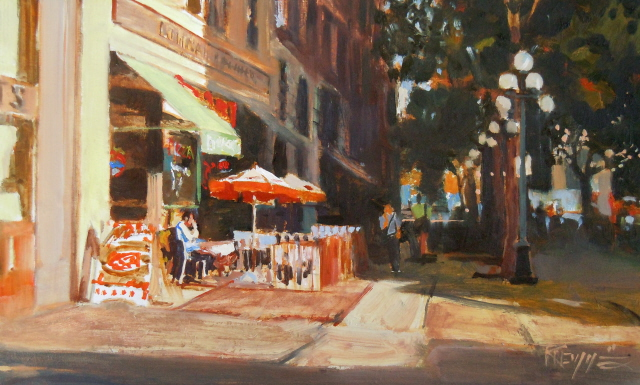 """""""Mario's  Pioneer Square oil painting by Robin Weiss"""" original fine art by Robin Weiss"""