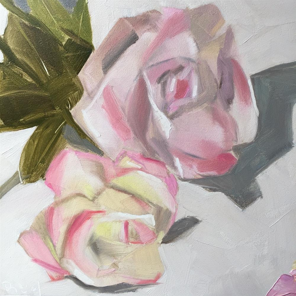 """""""215 Two Roses"""" original fine art by Jenny Doh"""