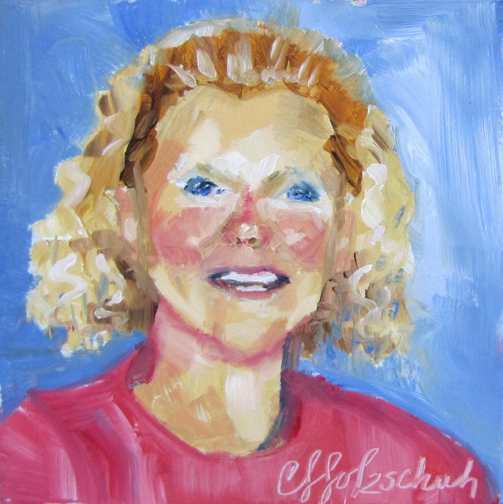 """Sharon Smiling 4x4 oil sold"" original fine art by Christine Holzschuh"
