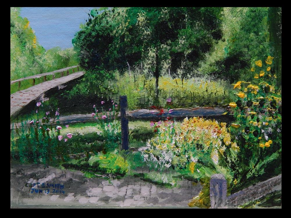 """""""Flowers at a Footbridge"""" original fine art by Captain B Smith"""