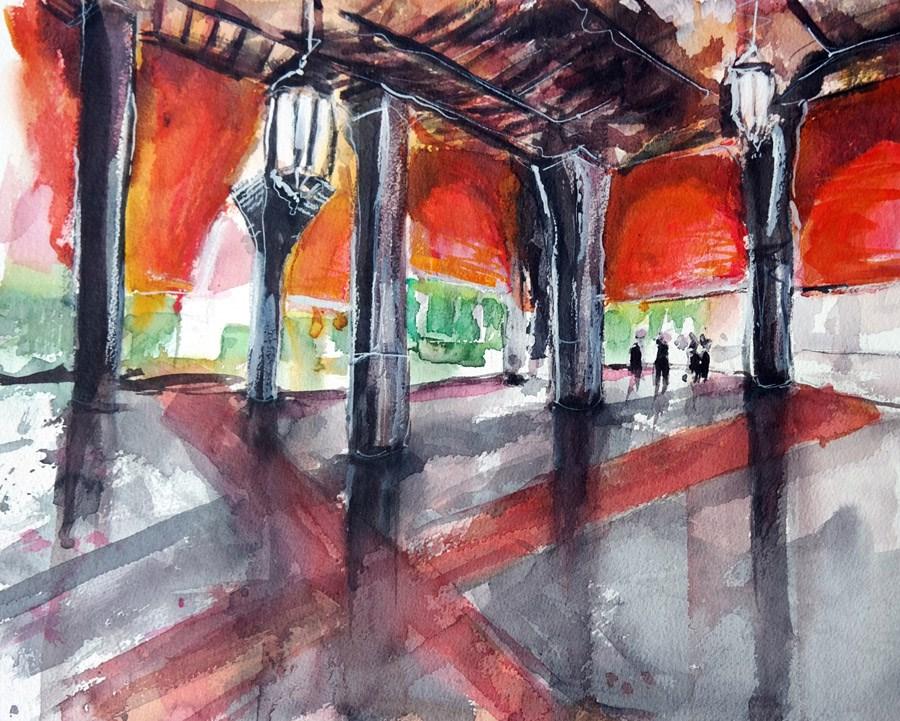 """1363 Red Curtains"" original fine art by Dietmar Stiller"