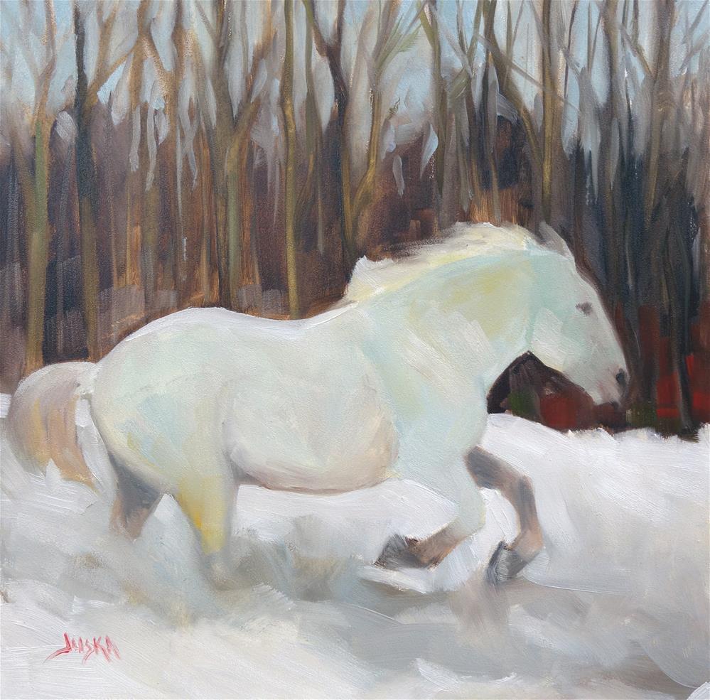"""White Horse Running Through the Snow"" original fine art by Elaine Juska Joseph"