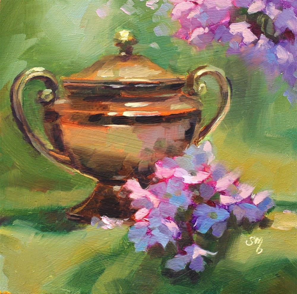 """No. 786 Cherry Blossoms and Silver Sugar Bowl"" original fine art by Susan McManamen"