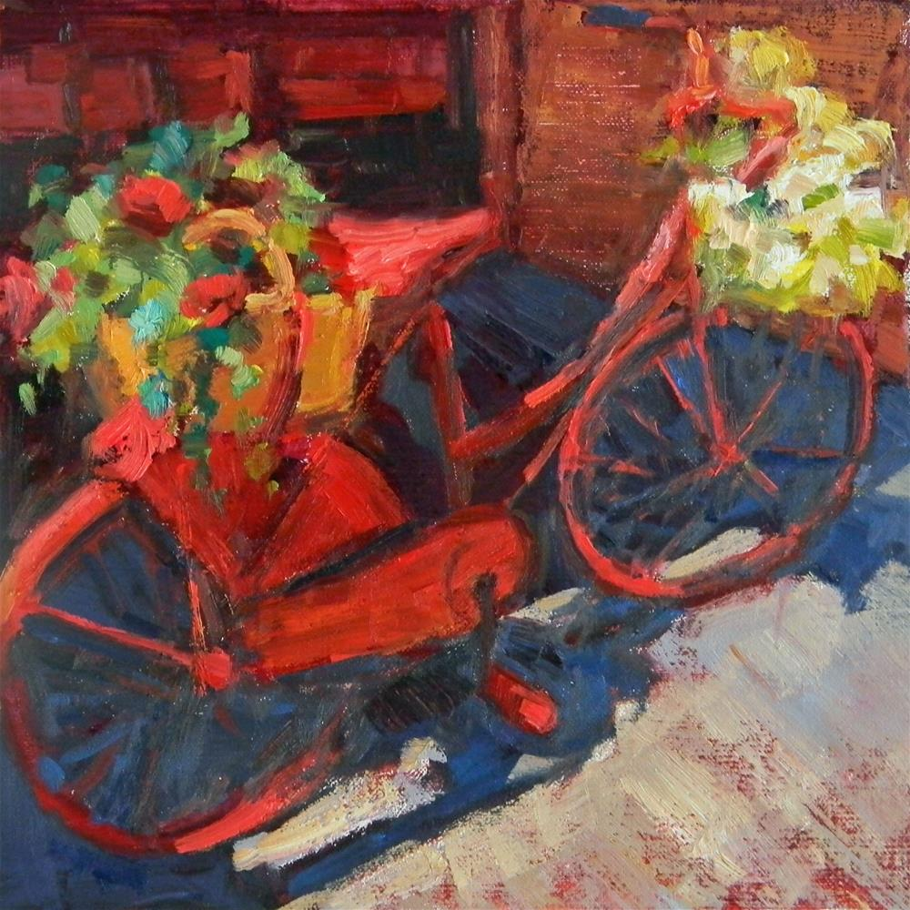 """""""Red Bicycle"""" original fine art by Barbie Smith"""