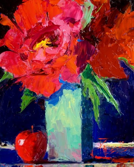 """""""Red Peonies tree peonies with apple, still life oil painting"""" original fine art by Robin Weiss"""