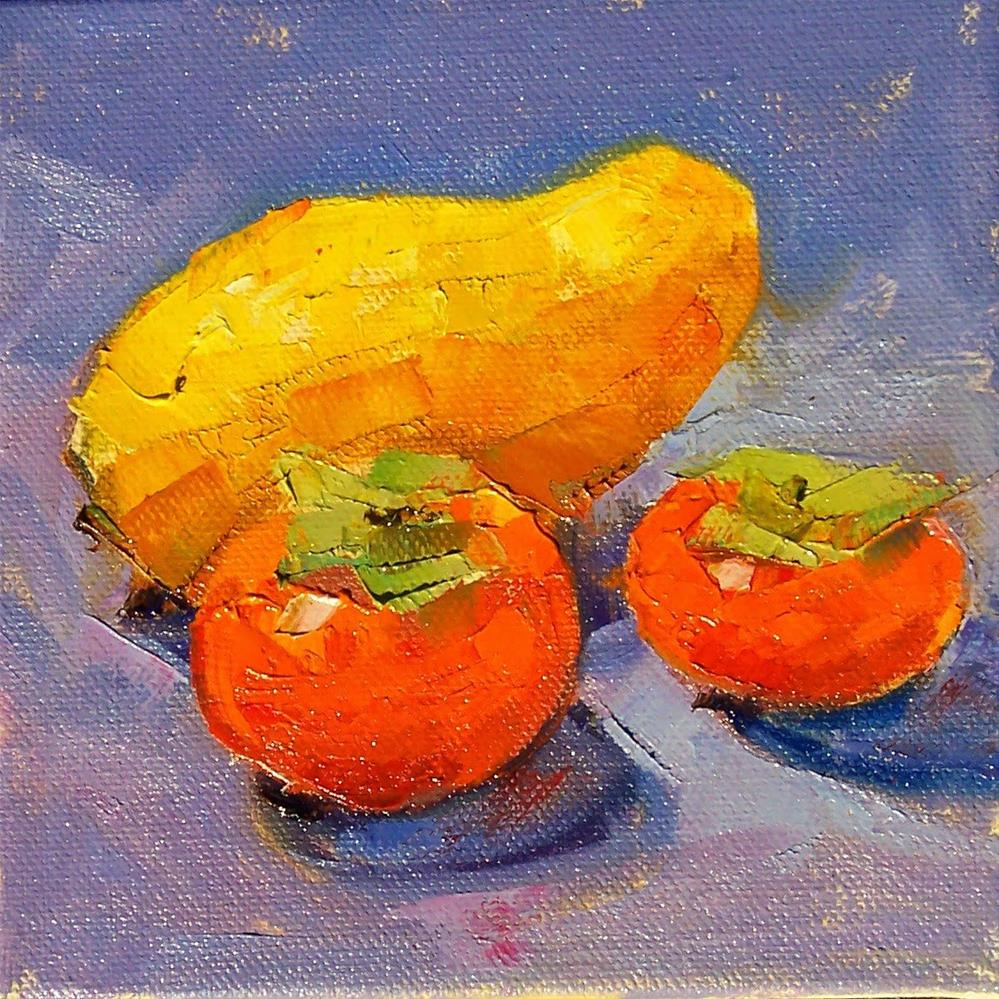 """Persimmons and Mango,still life,oil on canvas,6x6,price$200"" original fine art by Joy Olney"
