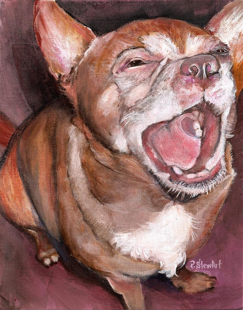 """8x10 Chipper Chihuahua Big Smile an acrylic Pet Portrait by Penny StewArt"" original fine art by Penny Lee StewArt"