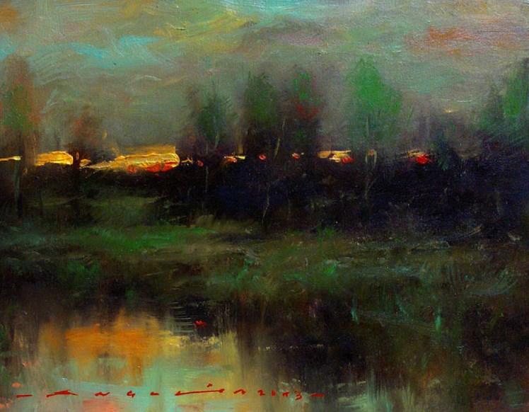 """""""landscape - Dusk"""" original fine art by Angel Angelov"""