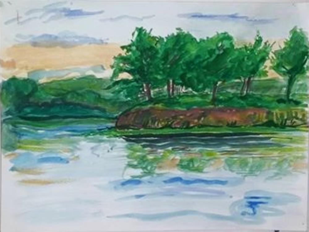 """""""Bank and Trees"""" original fine art by Selby Minner"""