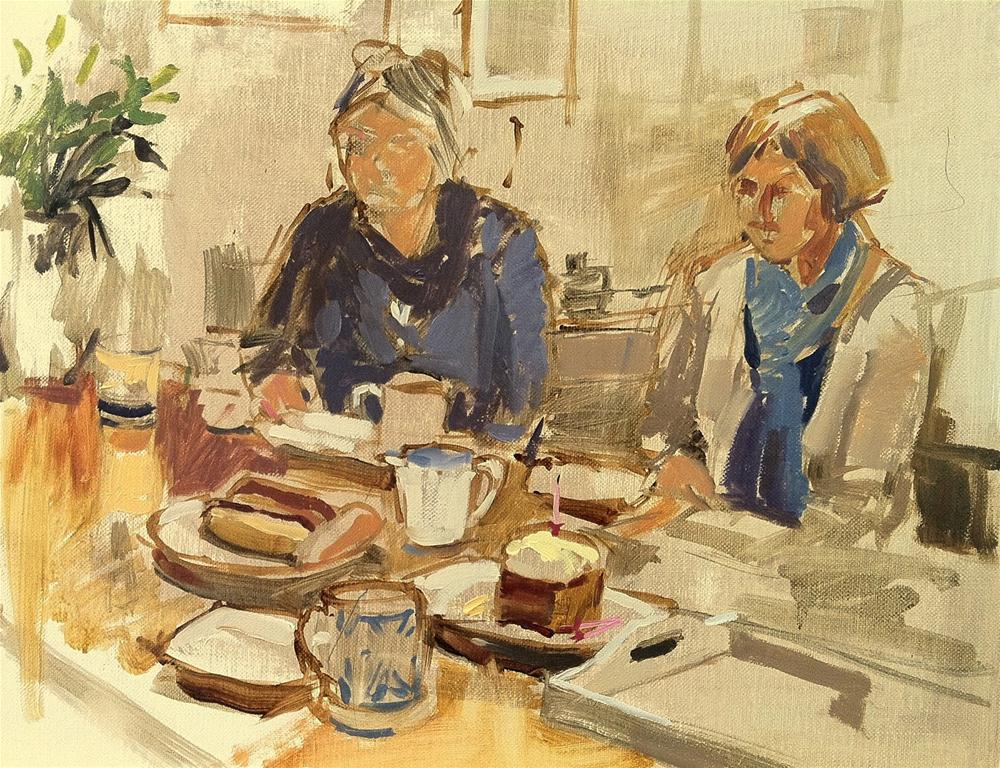 """""""Coffee and cake with friends"""" original fine art by Haidee-Jo Summers ROI"""