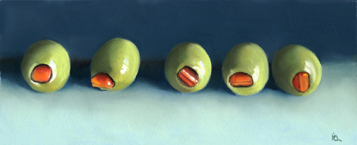 """Green Olives"" original fine art by Ria Hills"