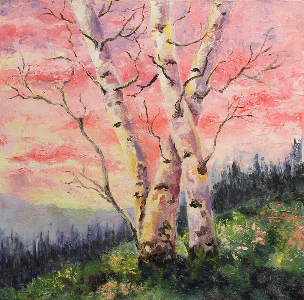 """Birch Sunrise"" original fine art by Barbara Janecka"