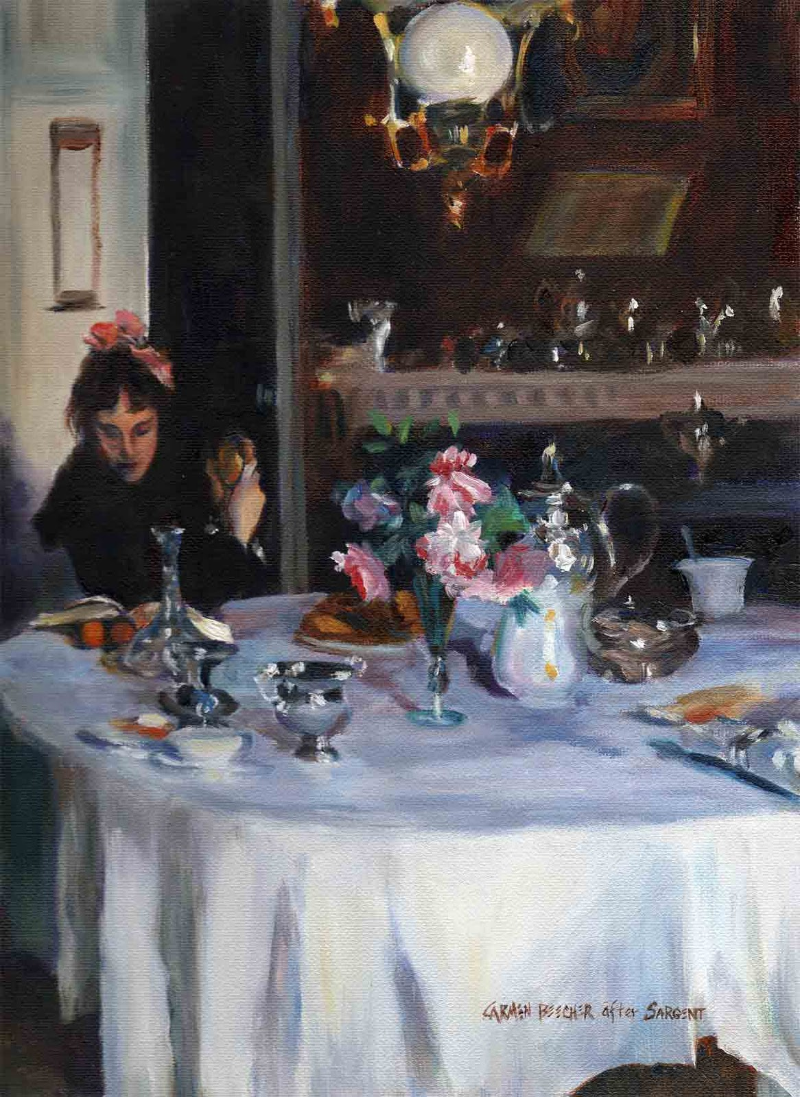 """The Breakfast Table, Oil, after Sargent"" original fine art by Carmen Beecher"