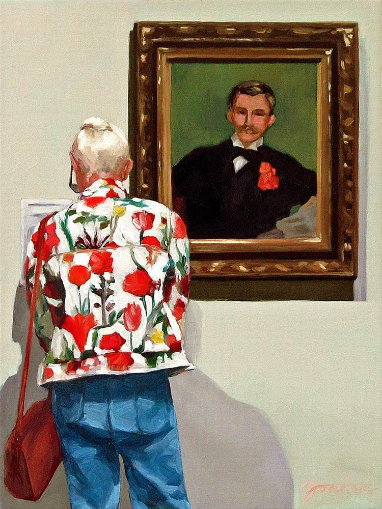 """""""The Jacket with Carnation--Painting People in Museum/Gallery Series"""" original fine art by Joanna Bingham"""