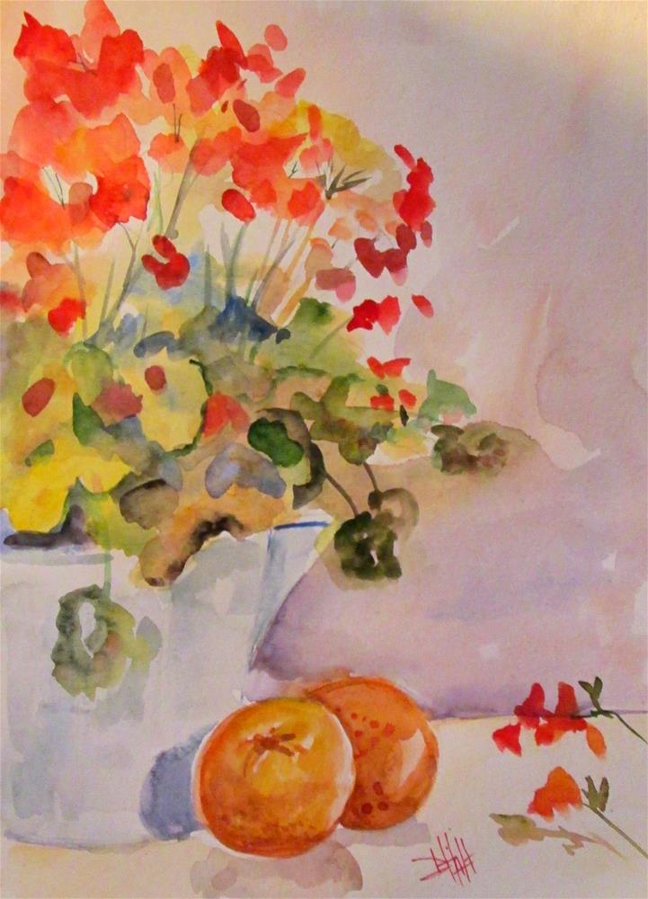 """Geraniums and New Oranges"" original fine art by Delilah Smith"