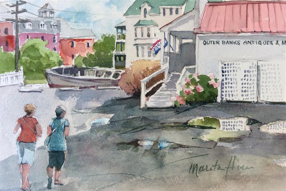 """Shopping and More Shopping - (Manteo NC)"" original fine art by Marita Hines"