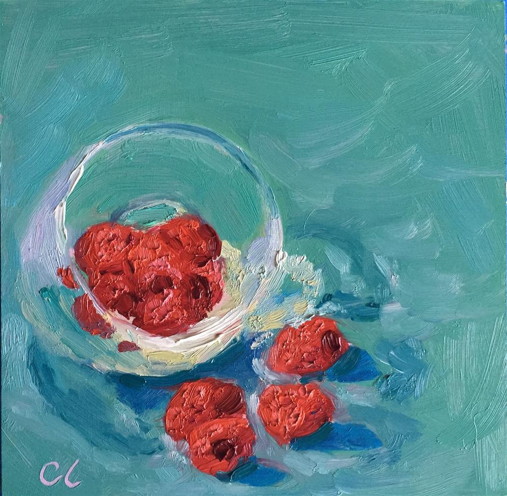 """Cup of raspberries"" original fine art by Cheree Apalona Lueck"