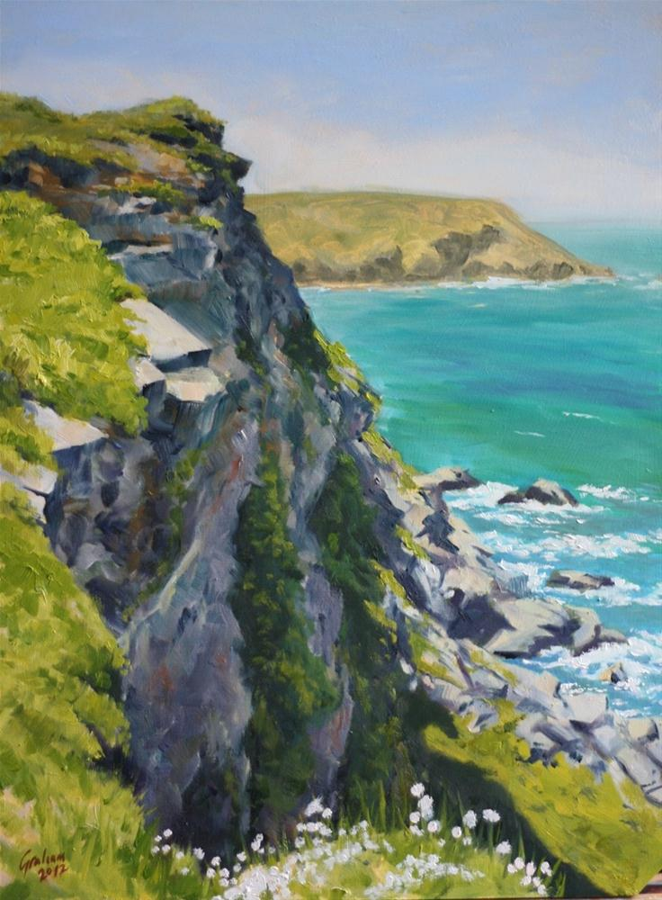 """""""Hell's Mouth, Cornwall."""" original fine art by Graham Townsend"""