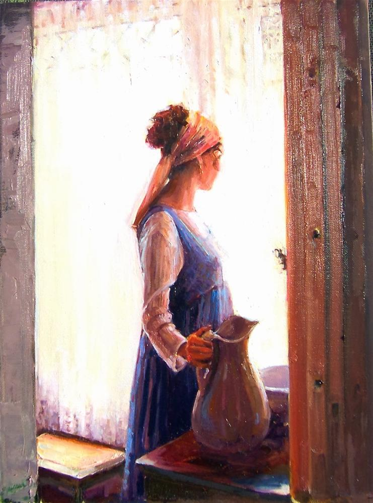 """Megan's Morning,figure,oil on canvas,24x18,Price NFS"" original fine art by Joy Olney"