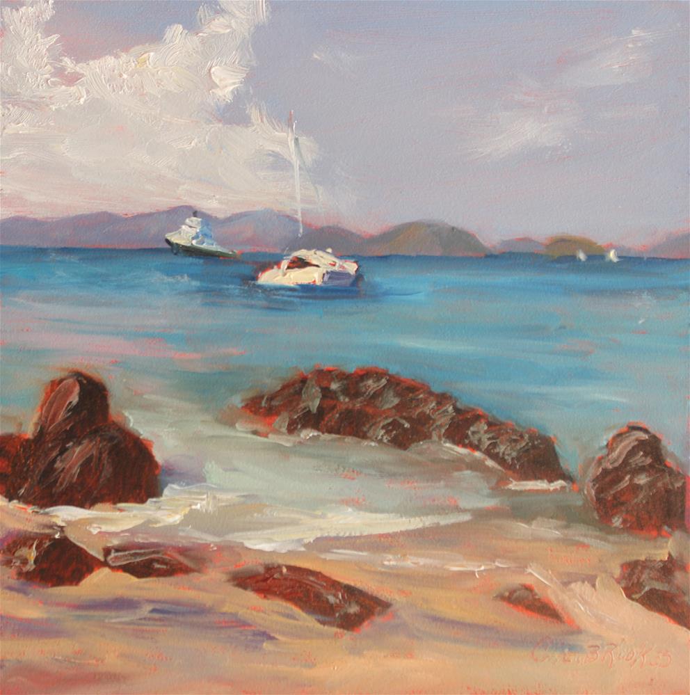 """Dropping Anchor at Cinnamon"" original fine art by Claudia L Brookes"