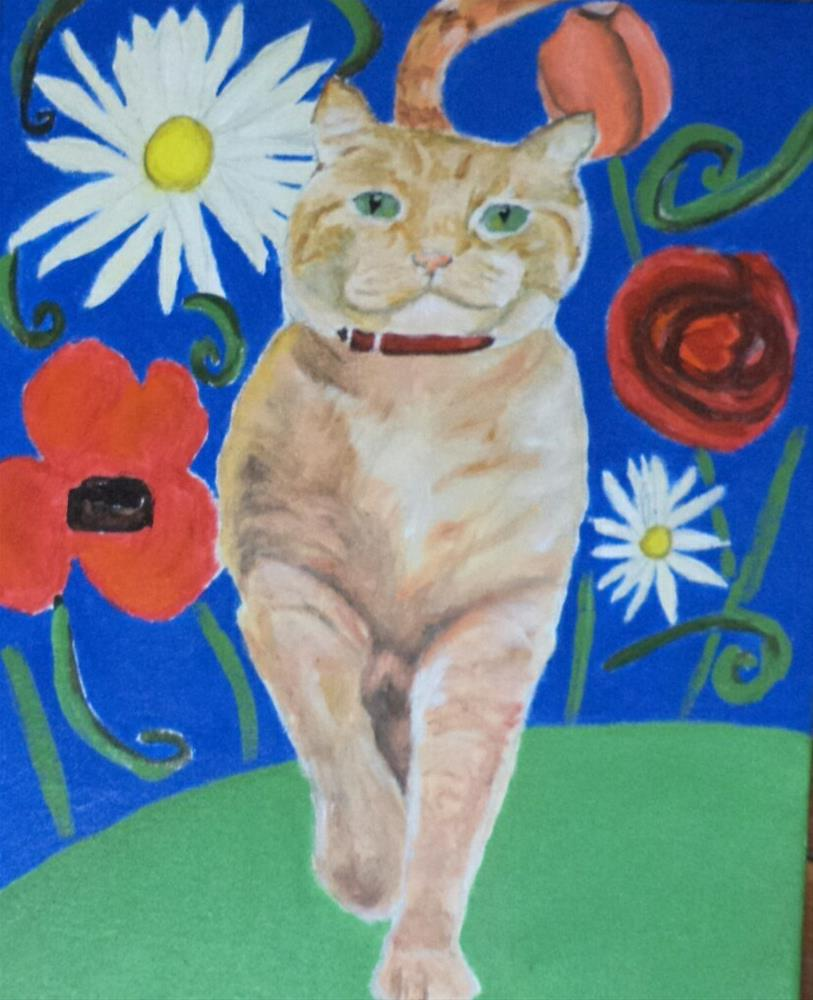 """Orange kitty and flowers"" original fine art by tara stephanos"