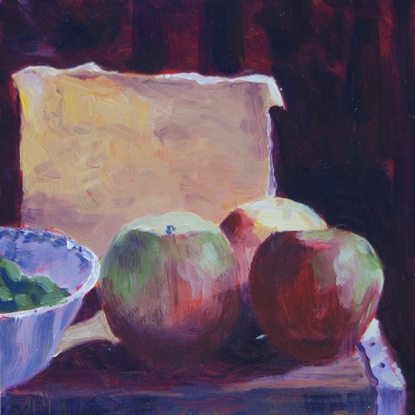 """""""Cheese and Apples"""" original fine art by Maria McNitt"""