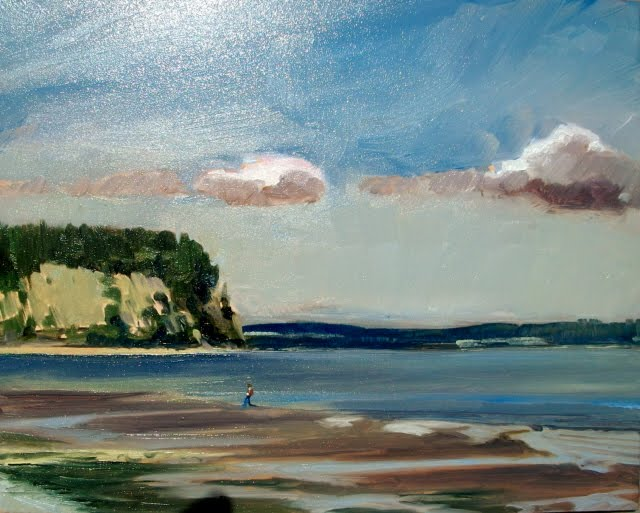"""""""Indian Island from Shine Tidelands Park, Washington State , Plain Air painting"""" original fine art by Robin Weiss"""
