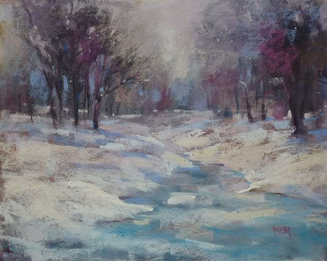 """Painting the Light on Snow"" original fine art by Karen Margulis"