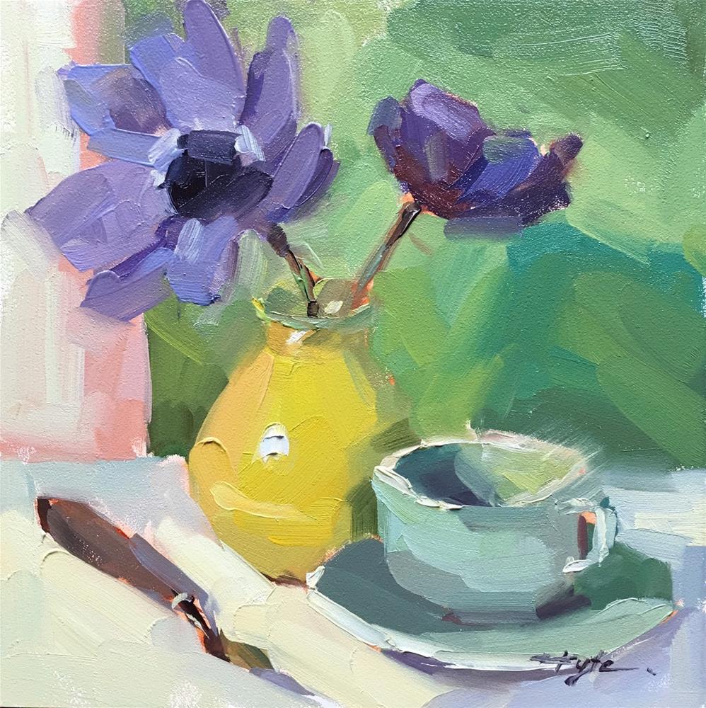 """Purple on Green"" original fine art by Katia Kyte"