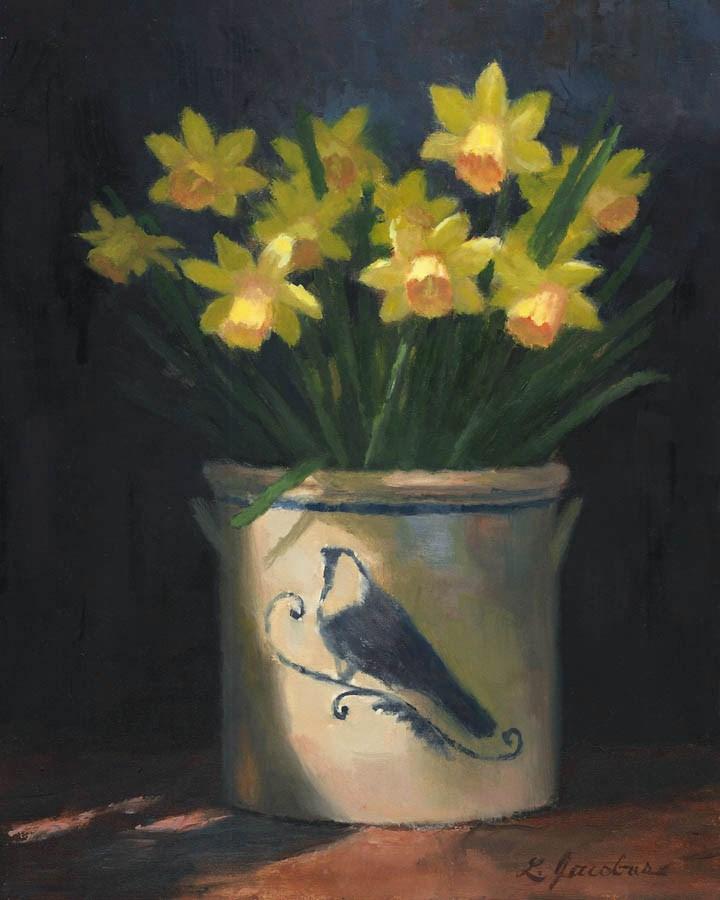 """Mini Daffodils in Delft"" original fine art by Linda Jacobus"