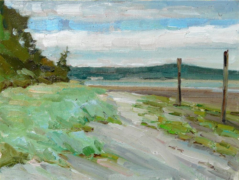 """English Boom, Camano Island,sea scape, oil on canvas,9x12,price$375"" original fine art by Joy Olney"