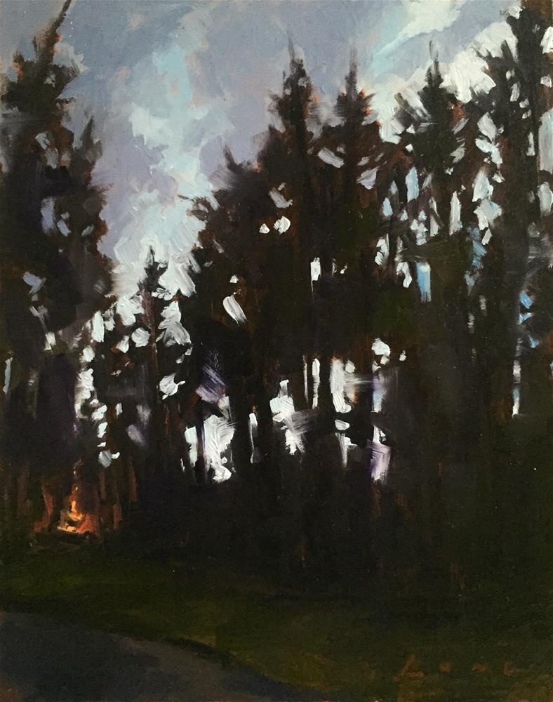 """""""Hilltop Campfire"""" original fine art by Chris Long"""