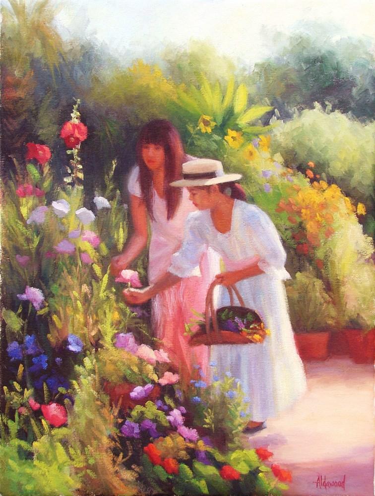 """Heather and Amaya in the Garden"" original fine art by Sherri Aldawood"