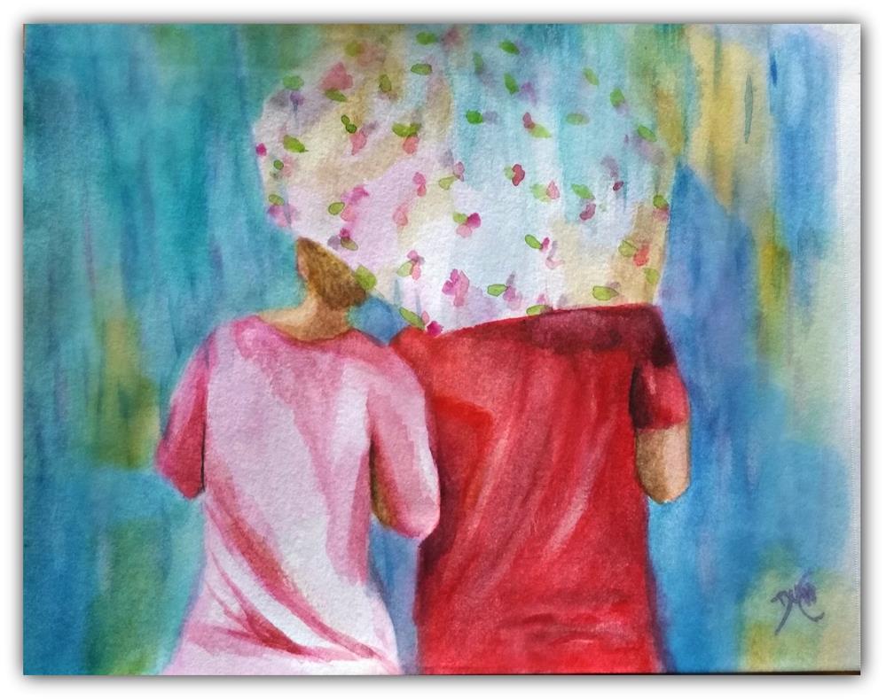 """Rainy Walk Together"" original fine art by Dana C"