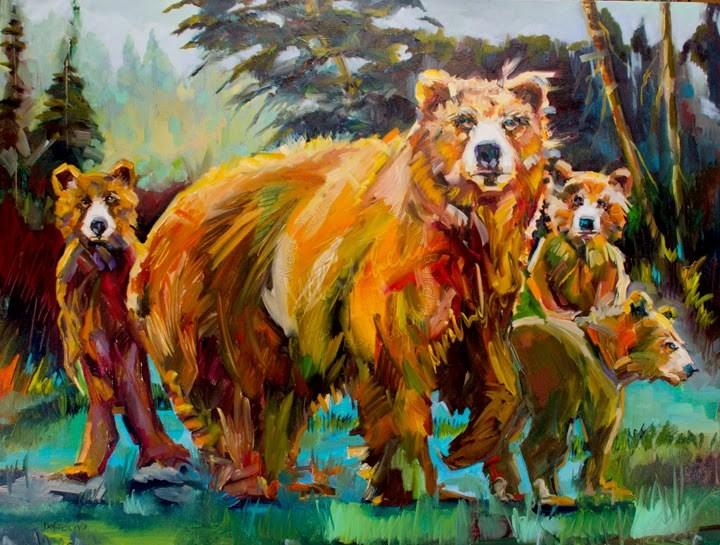 """""""ARTOUTWEST Diane Whitehead Bears animal art oil painting Wild Life"""" original fine art by Diane Whitehead"""