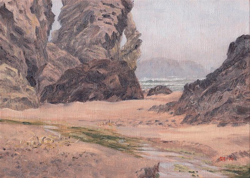 """C1555 Elephant Island enshrouded in a Bank of Fog"" original fine art by Steven Thor Johanneson"