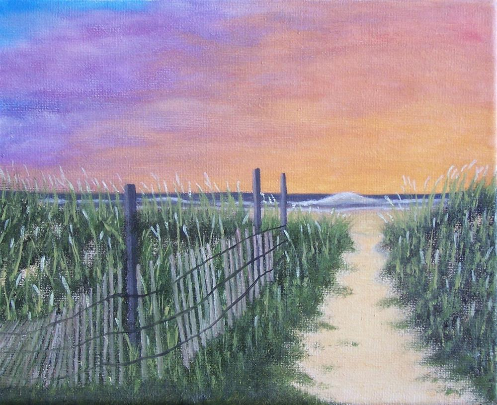 """beach path at Sunset"" original fine art by John Marcum"