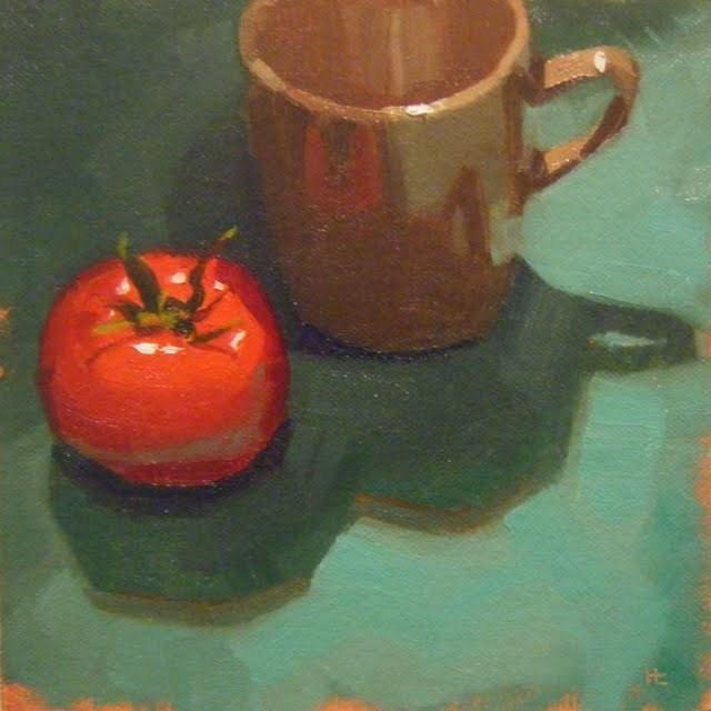 """TOMATO AND MUG"" original fine art by Helen Cooper"