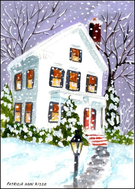 """Snowy Night"" original fine art by Patricia Ann Rizzo"